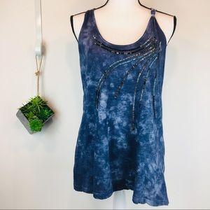 Sundance Navy Blue Tye Dye beaded cotton tank